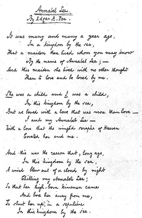 analytical essay on annabel lee Technical analysis of annabel lee literary devices and the technique of edgar allan poe.